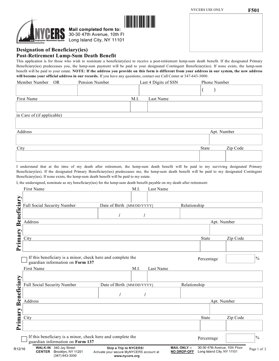 Form F501 Download Printable Pdf Or Fill Online Designation Of Beneficiary Ies Post Retirement Lump Sum Death Benefit New York City Templateroller