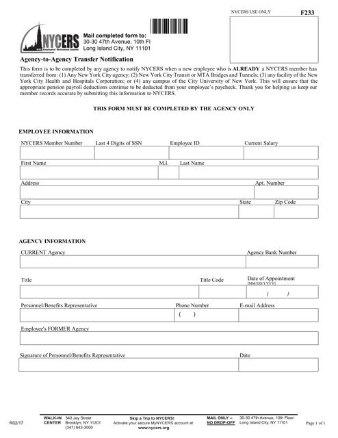 Form F233  Printable Pdf