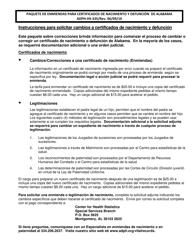 """Formulario ADPH-HS-33S """"Solicitud Para Cambiar Un Certificado De Nacimiento O Defuncion"""" - Alabama (Spanish)"""