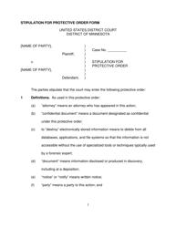 """Stipulation for Protective Order"" - Minnesota"