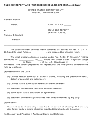 """""""Rule 26(F) Report and Proposed Scheduling Order Form (Patent Cases)"""" - Minnesota"""