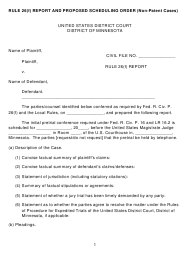 """""""Rule 26(F) Report and Proposed Scheduling Order Form (Non-patent Cases)"""" - Minnesota"""