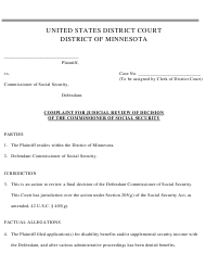 """""""Complaint for Judicial Review of Decision of the Commissioner of Social Security"""" - Minnesota"""