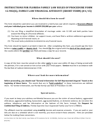 "Form 12.902(B) ""Family Law Financial Affidavit (Short Form)"" - Florida"