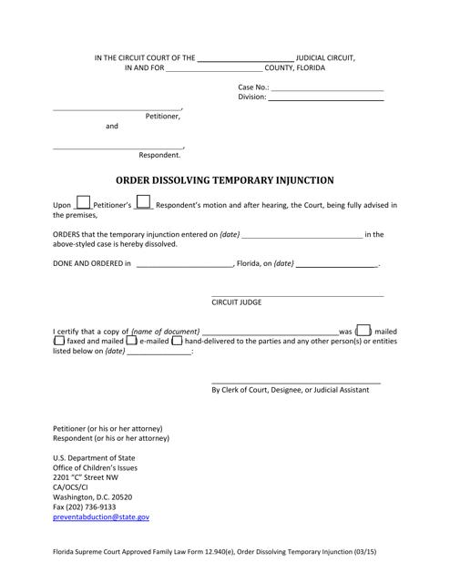 Form 12.940(E)  Printable Pdf