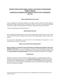 "Form 12.984(D) ""Parenting Coordinator Request for Status Conference"" - Florida"