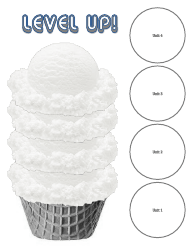 Level up! 4-level ICE Cream Goal Tracker Template