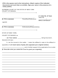 "Form 22 ""Reply Affidavit"" - Nassau County, New York"