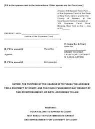 "Form 6 ""Order to Show Cause for Contempt in a Civil Action"" - Nassau County, New York"