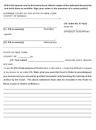 "Form 39 ""Affidavit in Support of a Temporary Restraining Order in a Civil Action"" - Nassau County, New York"