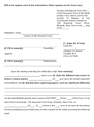 "Form 2 ""Order to Show Cause in a Civil Action"" - Nassau County, New York"