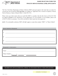 "Form PSB-3 ""Name Selection Form for Private Service Bureau (Psb) Applicants"" - New York"