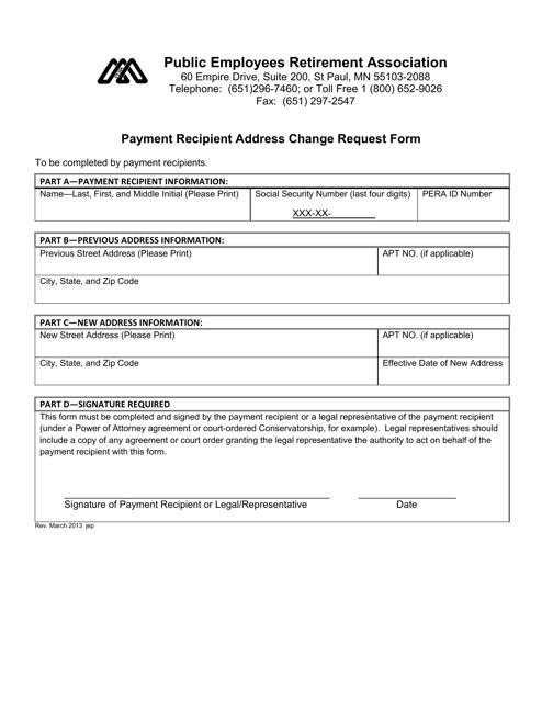 """Payment Recipient Address Change Request Form"" - Minnesota Download Pdf"
