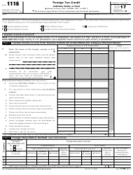 IRS Form 1116 2017 Foreign Tax Credit (Individual, Estate, or Trust)