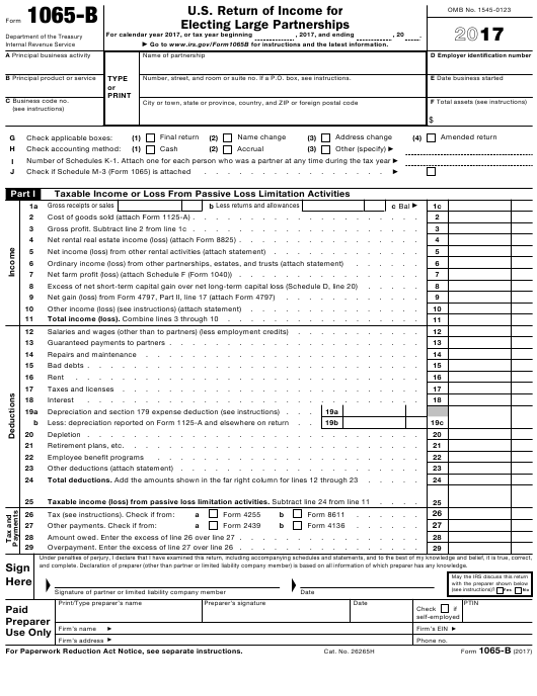 IRS Form 1065-B 2017 Printable Pdf