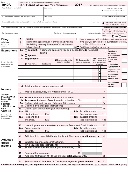 IRS Form 1040A 2017 Fillable Pdf