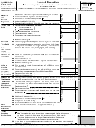 IRS Form 1040 2017 Schedule a - Itemized Deductions