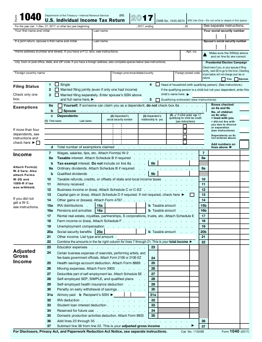 IRS Form 1040 2017 Fillable Pdf