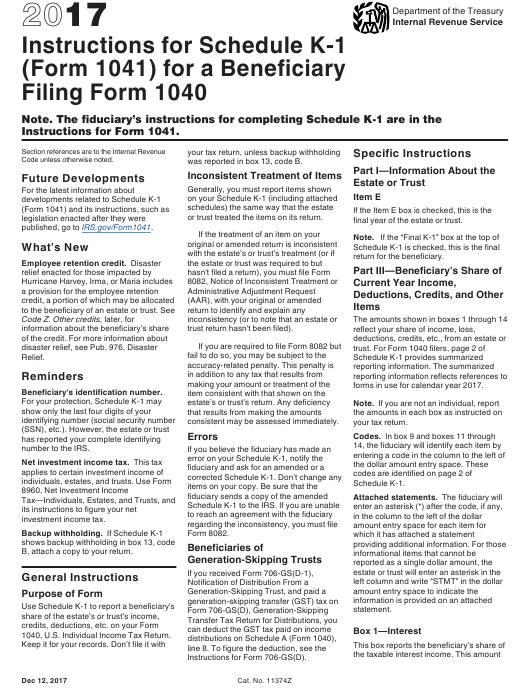 Instructions For Irs Form 1041 Schedule K 1 Beneficiarys Share Of