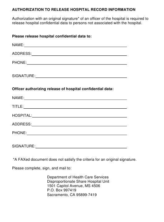 """Authorization to Release Hospital Record Information"" - California Download Pdf"