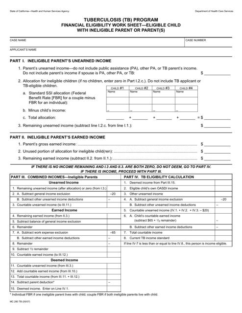 Form MC280 TB  Printable Pdf