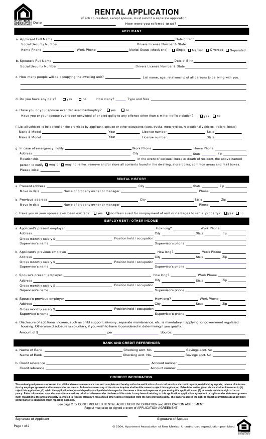 Rental Application Form Apartment Association Of New