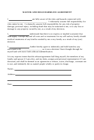 Waiver and Hold Harmless Agreement Template