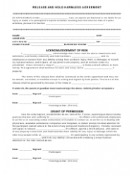 """Release and Hold Harmless Agreement Template"""