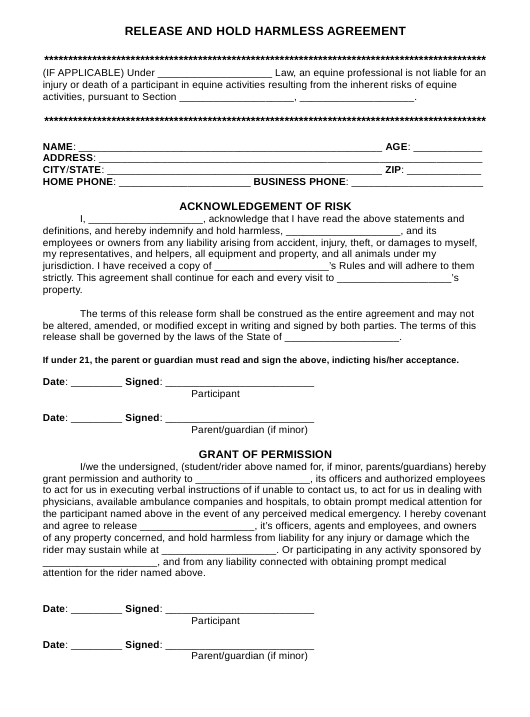 """Release and Hold Harmless Agreement Template"" Download Pdf"