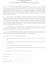 """Waiver of Liability and Hold Harmless Agreement Template"""