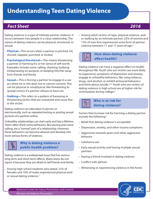 """Understanding Teen Dating Violence Fact Sheet"" Download Pdf"