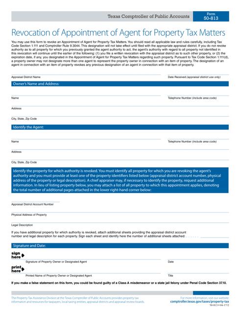 Form 50-813  Printable Pdf