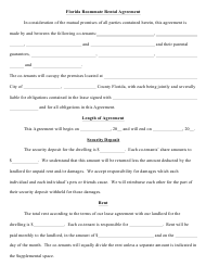 """Roommate Rental Agreement Form"" - Florida"