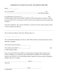 """Agreement to Execute Lease and Deposit Receipt Template"""