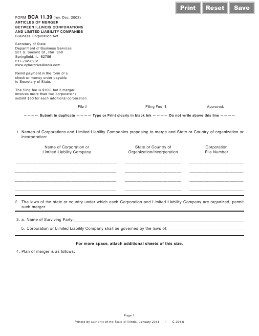 Form BCA11.39 Printable Pdf