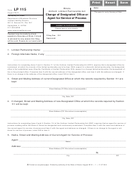 Form LP 115 Change of Designated Office or Agent for Service of Process - Illinois