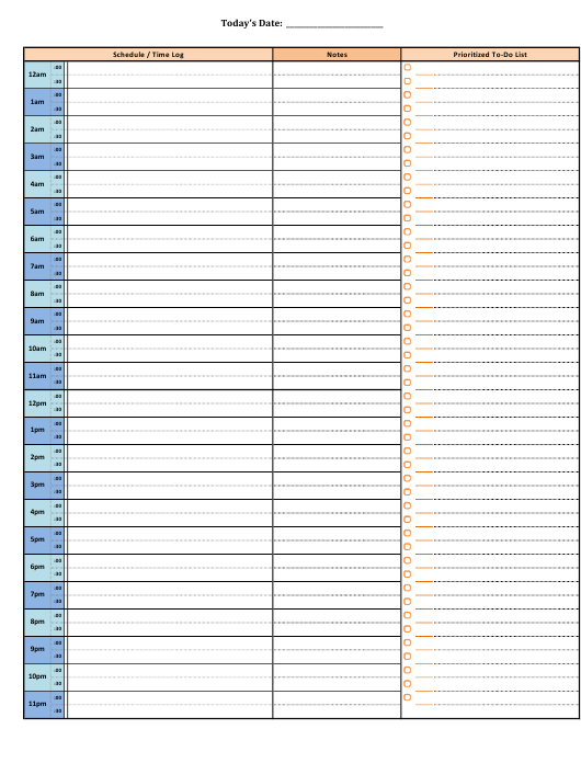 """Daily Hourly Schedule Template"" Download Pdf"