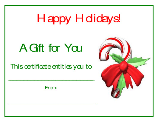 """""""Candy Cane Christmas Certificate Template"""" Download Pdf"""