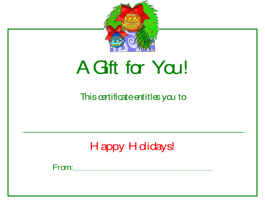 """""""Happy Holidays Certificate Template - a Gift for You"""" Download Pdf"""