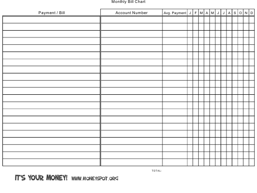 monthly bill chart template download printable pdf templateroller