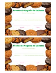 """""""Premio De Negocio De Galletas Certificado"""" (Spanish)"""