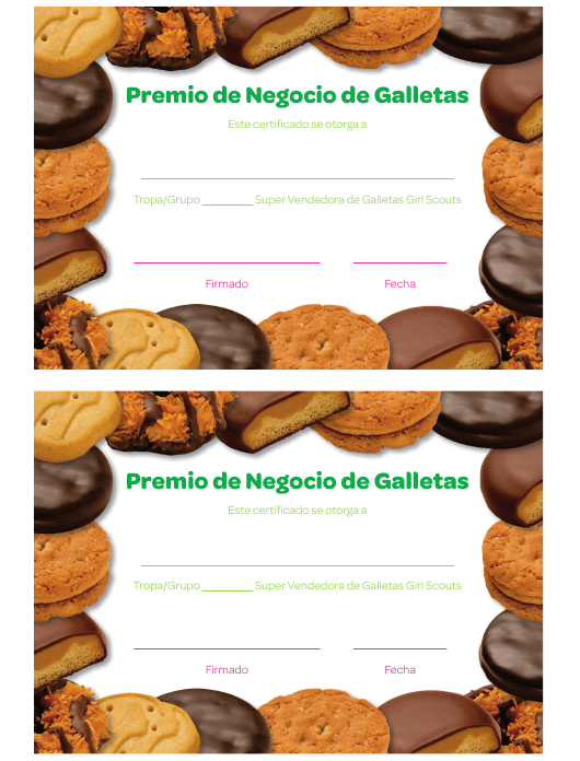 """Premio De Negocio De Galletas Certificado"" (Spanish) Download Pdf"