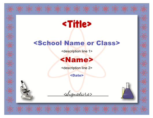 """Science Certificate Template"" Download Pdf"