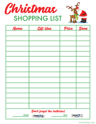 """Christmas Gifts Shopping List Template"""