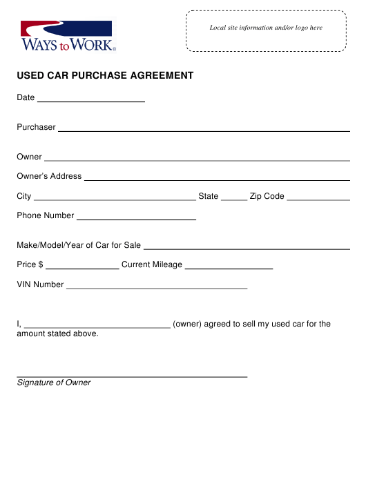 """Used Car Purchase Agreement Template - Ways to Work"" Download Pdf"