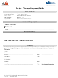 """Project Change Request Template"" - Maryland"