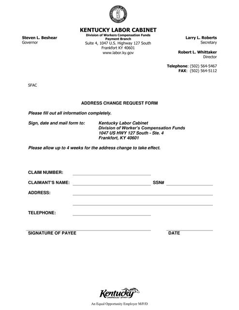 """Address Change Request Form"" - Kentucky Download Pdf"
