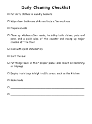"""Daily Cleaning Checklist Template"""