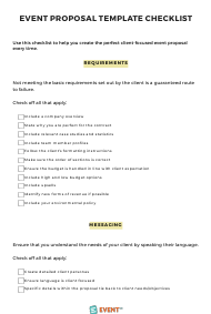 """Event Proposal Template Checklist"""