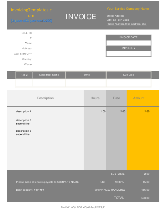 Invoice Template With Hours and Rate Download Pdf